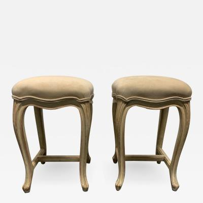 Pair of French Painted Upholstered Stools