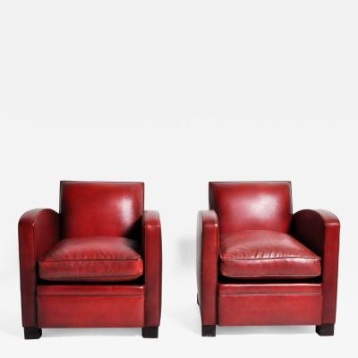 Pair of French Red Leather Club Chairs