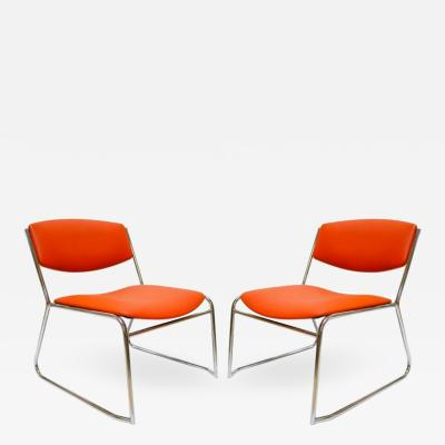 Pair of French Reddish Orange Leather French Slipper Chairs
