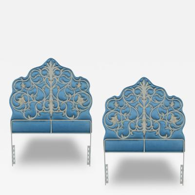 Pair of French Regency Style Padded Silk and Iron Headboards