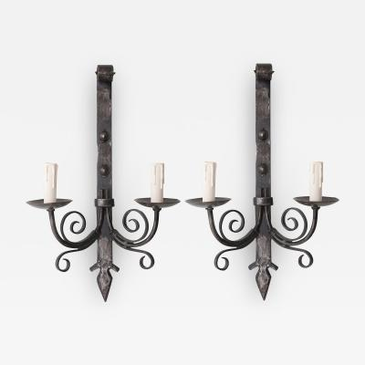 Pair of French Reproduction Iron Wall Sconces