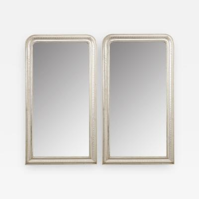 Pair of French Reproduction Louis Philippe Style Silver Giltwood Mirrors