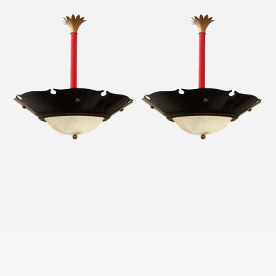 Pair of French Tole Painted Chandeliers