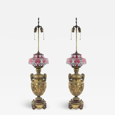 Pair of French Victorian Bronze Urn Table Lamps