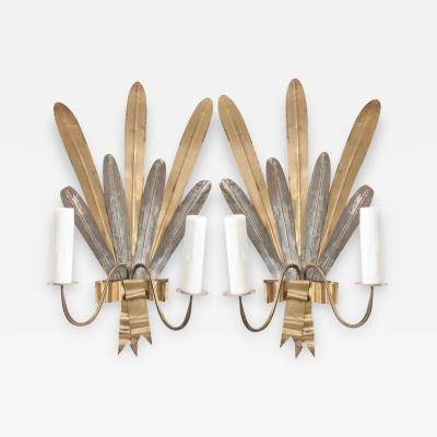 Pair of French Vintage Gilt And Silvered Metal Cattail Leaf Sconces