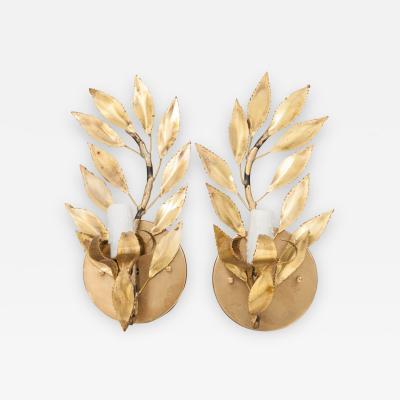 Pair of French Vintage Gilt Brass Single Arm Laurel Leaf Sconces