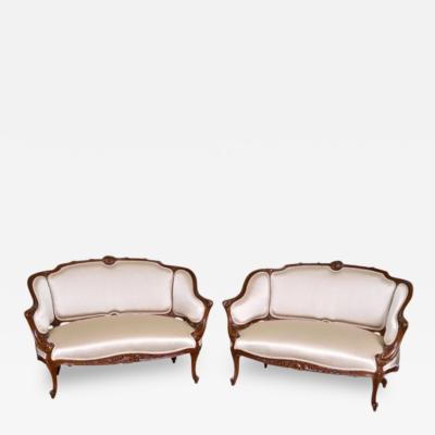 Pair of French Wanut Settees