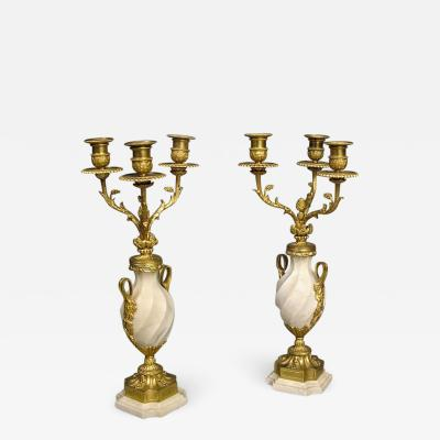 Pair of French White Carrara Marble and Gilt Candelabra 19th Century