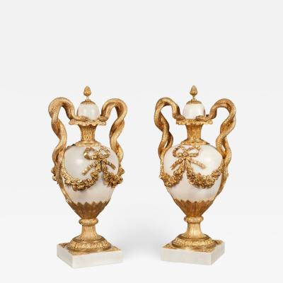 Pair of French White Marble and Gilt Bronze Mounted Urns 19th Century