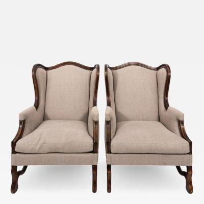 Pair of French Wingback Os De Mouton Armchairs
