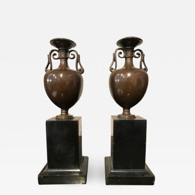 Pair of French bronze patinated grand tour urns