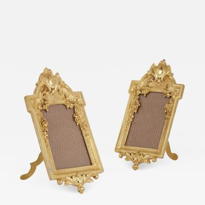 Pair of French gilt bronze frames in the Neoclassical style