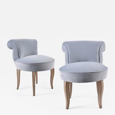 Pair of French vintage dressing table chairs