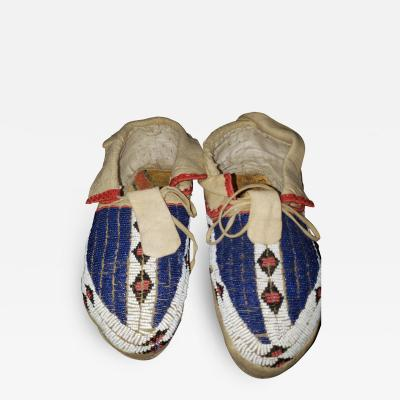Pair of Fully Beaded Sioux Indian Moccasins