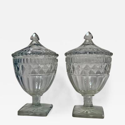 Pair of George III Anglo Irish Diamond Cut Glass Urns and Covers C 1800 20
