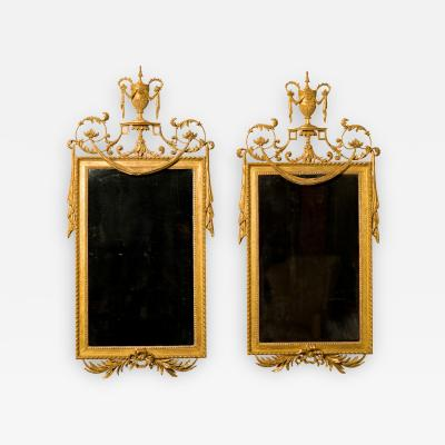 Pair of George III Giltwood and Gilt Composition Pier Mirrors