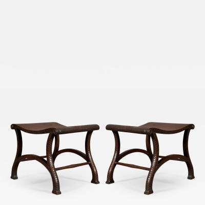 Pair of George III Mahogany Saddle Seat Stools of Interesting Design