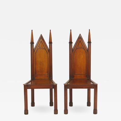 Pair of George III Oak Gothic Hall Chairs c 1800