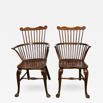 Pair of George III Yew Oak and Elm Windsor Chairs 1775 1800