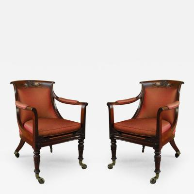 Pair of George IV Mahogany Bergeres