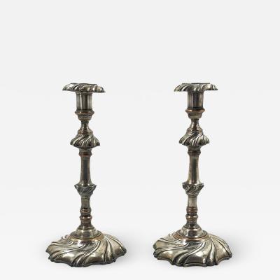 Pair of Georgian Silvered Candlesticks