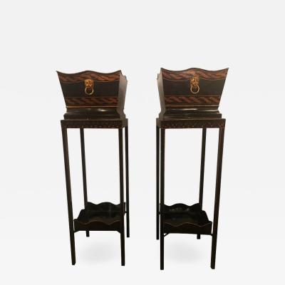 Pair of Georgian Style Tole Jardini res or Planters on Shelved Pedestals