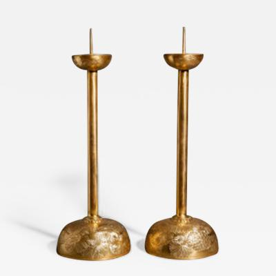 Pair of Gilded Bronze Candlesticks