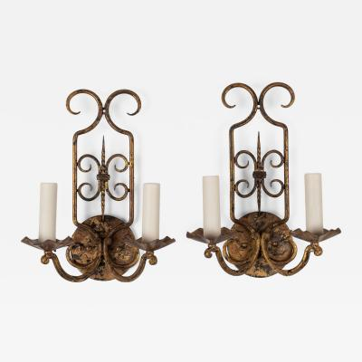 Pair of Gilt Iron French Sconces