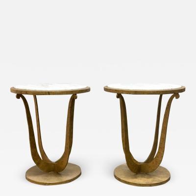 Pair of Gilt Iron and Carrara Marble Top Gueridon Tables