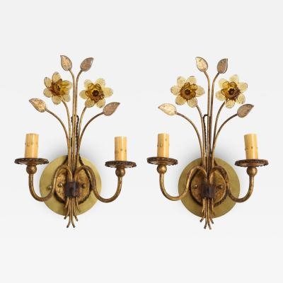 Pair of Gilt Metal Pressed Glass Daffodil Sconces