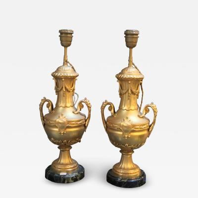 Pair of Gilt Table Lamps Amphora Shape