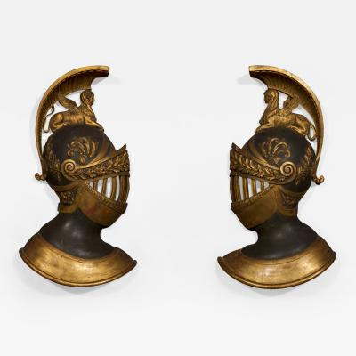 Pair of Giltwood Bronzed Wall Appliques In The Form of Plumed Military Helmets