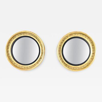 Pair of Giltwood Bullseye Mirrors with Ebonized Detail Beveled Glass