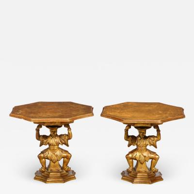 Pair of Giltwood Figural Tables