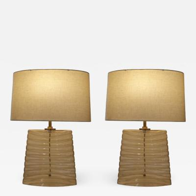 Pair of Glass Oblong Table Lamps