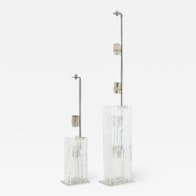 Pair of Glass Table Lamps by Doria Germany 1960s
