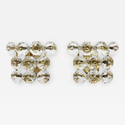 Pair of Glass and Gilded Brass Wall Sconces 1960s