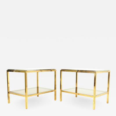 Pair of Glass and Steel Side Tables in the Manner of Willy Rizzo c1960