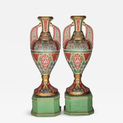 Pair of Glasses of the Alhambra of Polychrome and Gold Plaster Decorated