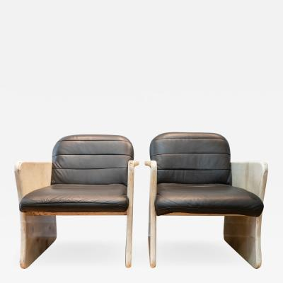 Pair of Goatskin Parchment and grey leather Mid Century Chairs