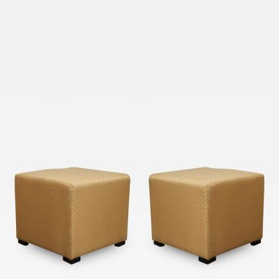 Pair of Gold Cube Upholstery Ottomans Poufs