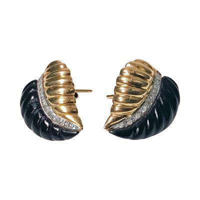 Pair of Gold Diamond Onyx Leaf Earrings