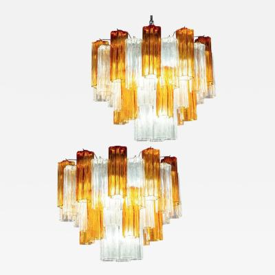 Pair of Gold and Ice Tronchi Murano Glass Chandelier by Venini 1970s