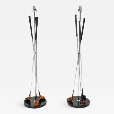 Pair of Golf Club Floor Lamps with Power Bilt Pouette Stan Thompson Clubs