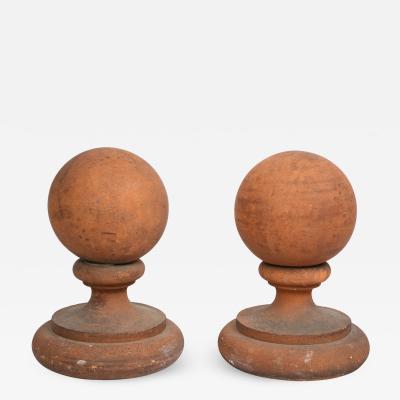 Pair of Gothic Terra Cotta Ball Finials