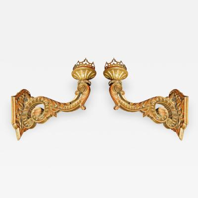 Pair of Grand Hand Carved Gilt Wood Sconces