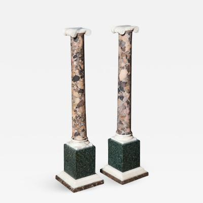 Pair of Grand Tour Columns in Porphyry Breche and Alabaster