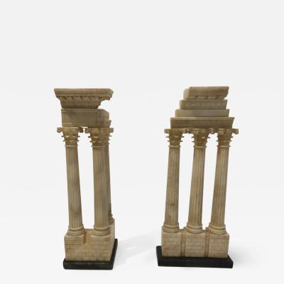 Pair of Grand Tour Models Carved Alabaster Roman Columns