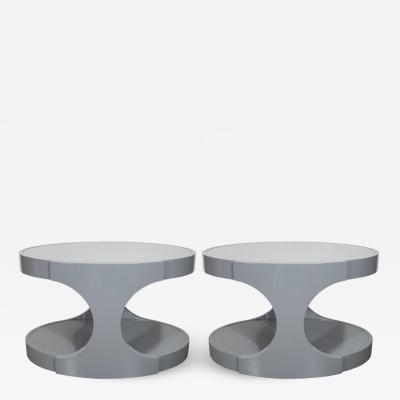 Pair of Graphic Modernist Gray Lacquered Two Tiered Oval Side Tables