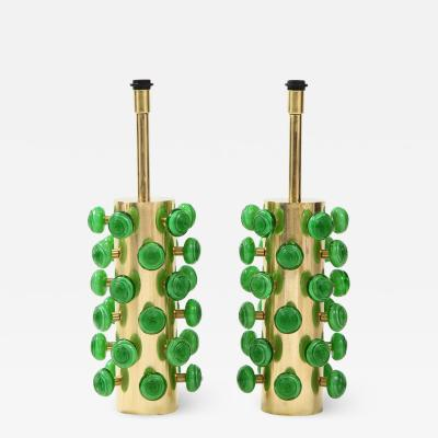 Pair of Green Murano Glass Knobs and Brass Cylinder Sculptural Lamps Italy 2021